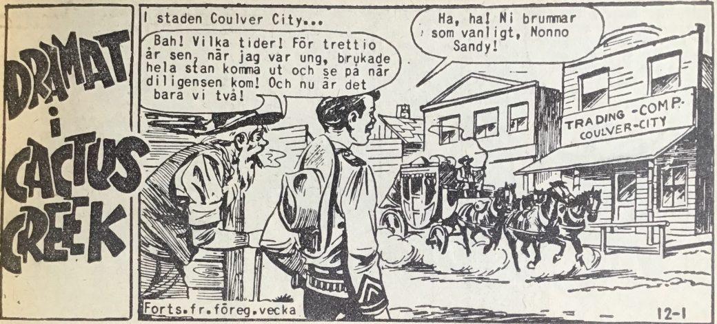Den inledande sidan ur Vilda Västern nr 12, 1958