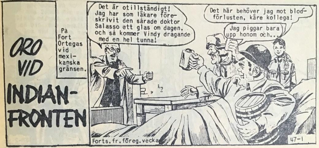 Den inledande sidan ur Vilda Västern nr 47, 1958