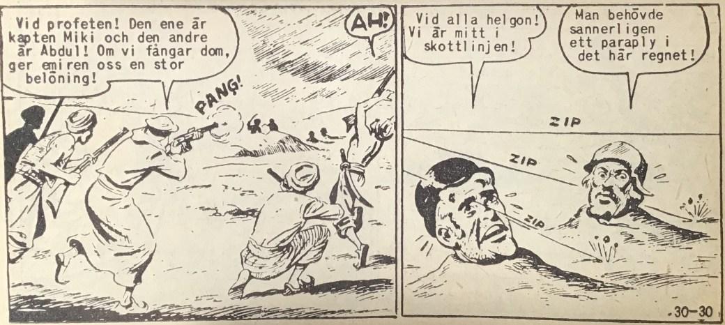 En sida ur Vilda Västern nr 30, 1958, med Windy och Salasso i en svår belägenhet