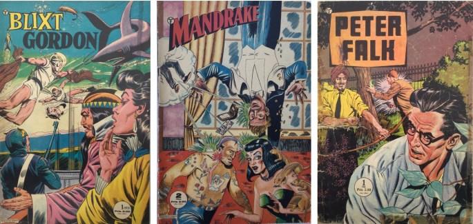 Tidningsformatet varierar men Blixt Gordon, Mandrake och Peter Falk var tidningar i storformat