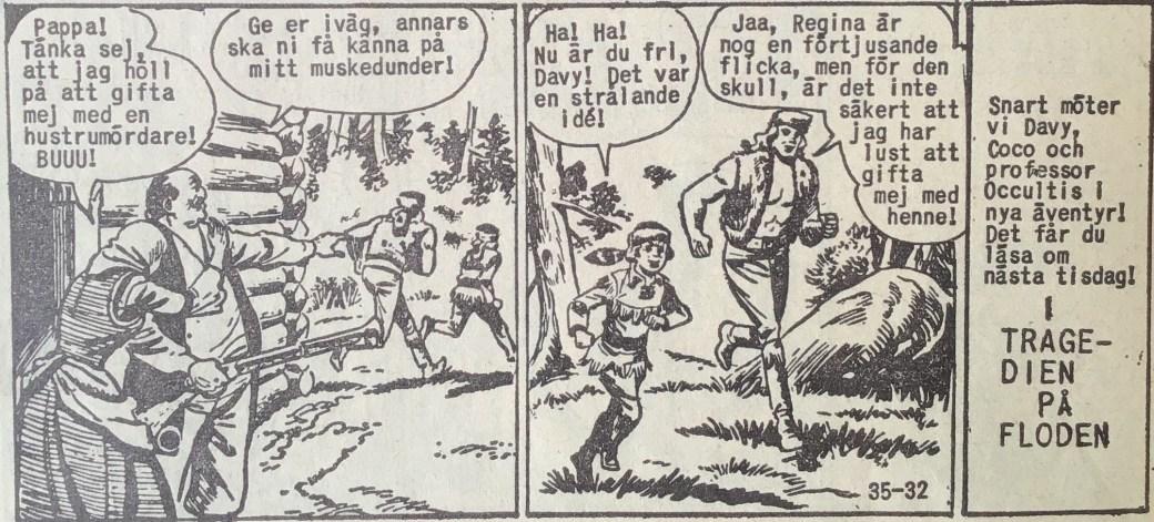 Den avslutande sidan ur Prärieserier nr 35, 1959