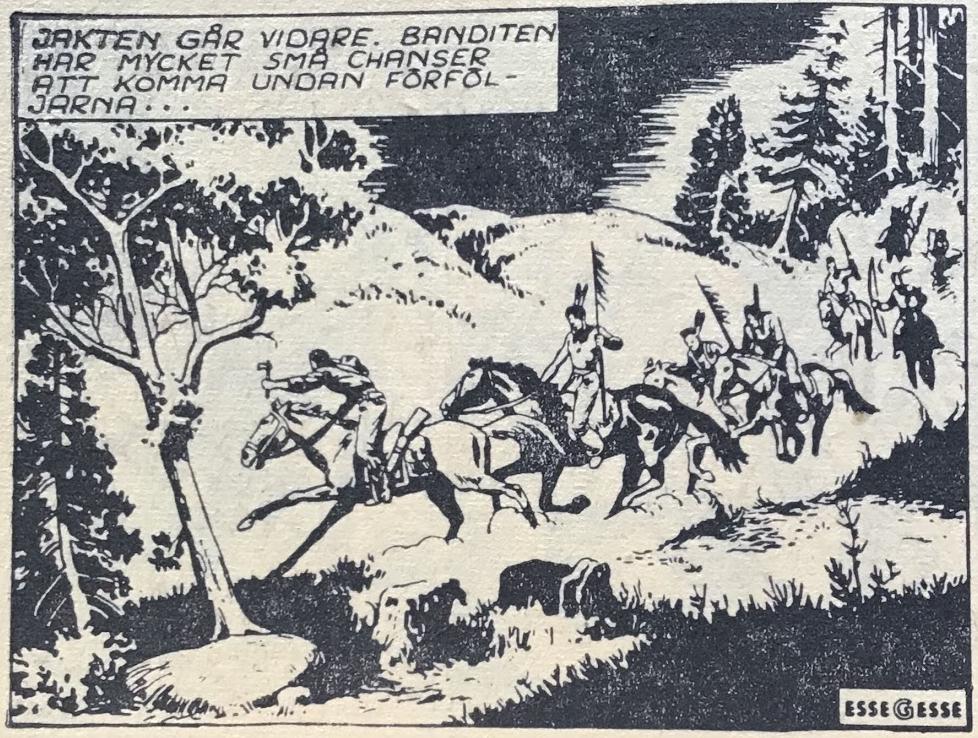 Trion signerade sina serier EsseGesse, som här i Prärieserier med Kinowa, om än det oftast redigerades bort i de svenska tidningarna