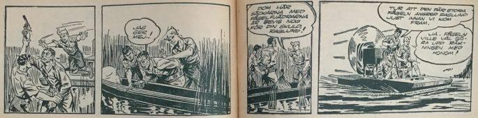 Uppslaget i Bob och Frank nr 6, 1954, med slutet på episoden Hemligt vapen