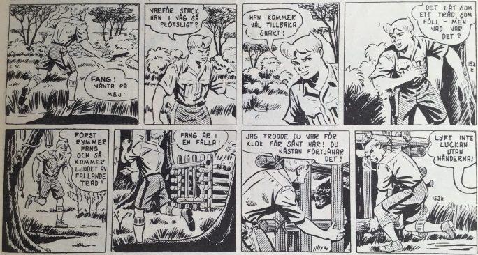Ett par strippar ur episoden Lyckosjuans hemlighet ur Spud & Co nr 1, 1954
