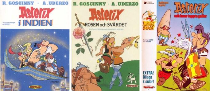 Asterix från 1987 och 1991, och en nytryckning 1989 av ©Serieförlaget