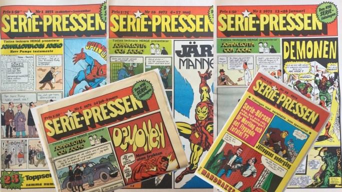 Serie-Pressen utkom 1972-72 från ©Saxon & Lindströms förlag, först i tabloidformat, sedan i serietidningsformat