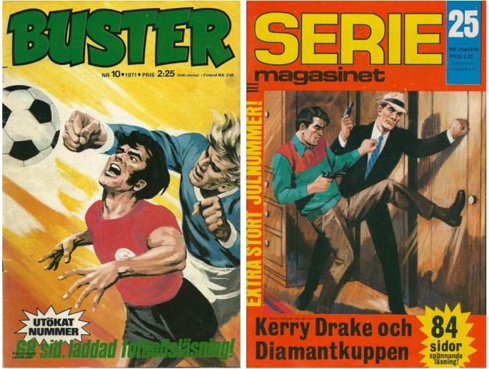 Buster nr 25, 1971 och Seriemagasinet nr 25, 1970 från ©Semic Press förlag