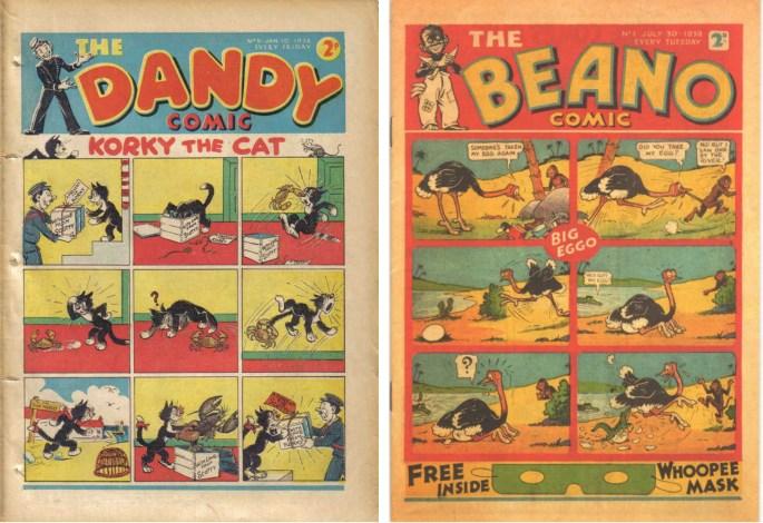 Serietidningarna The Dandy Comic och Beano lanserades i slutet av 30-talet