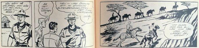 Ett uppslag ur Bob och Frank nr 13, 1954, som avslutar episoden med elefanthjorden