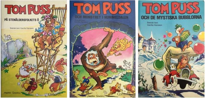 Tom Puss nr 1, 2 (1983) och nr 5 (1984) från ©Carlsen/if förlag