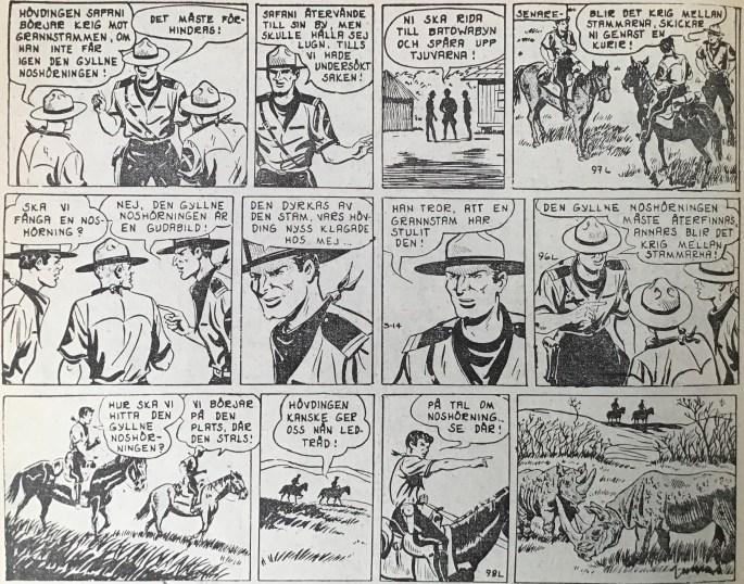Ett exempel på omkastad tidsföljd i Spud & Co, från nr 1, 1964