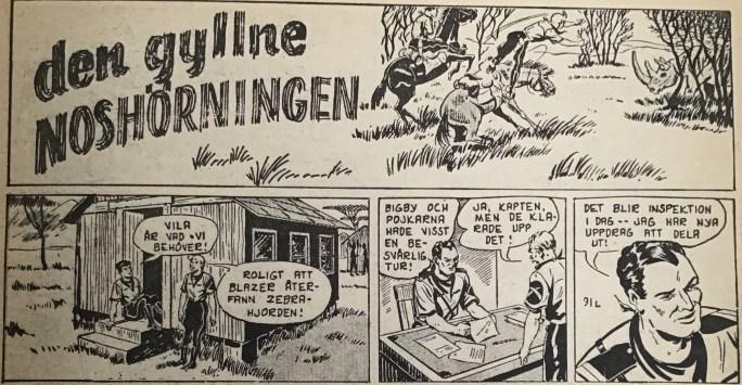 Den inledande strippen från 9 mars 1953 i Spud & Co nr 1, 1964, till episoden Den gyllne noshörningen