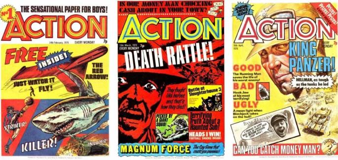 Några nummer av serietidningen Action, från 6 mars, 10 april och 8 maj 1976
