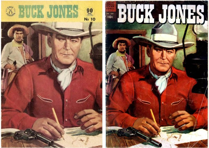 Buck Jones nr 10 (1961) från Pingvinförlaget och den amerikanska originalförlagan från Dell