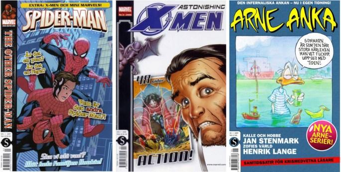 Nytillkomna titlar från ©Schibsted var Spider-Man, Marvel Special och Arne Anka