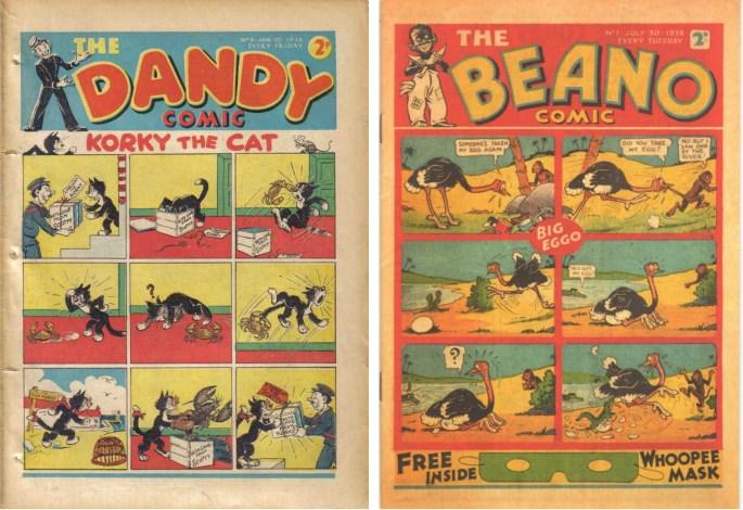The Dandy Comic och Beano lanserades i slutet av 30-talet.