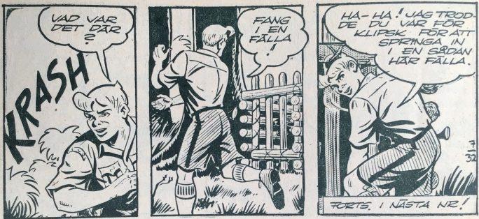 Sista sidan ur Bob och Frank nr 7, 1954, från episoden Dödspassets gåta