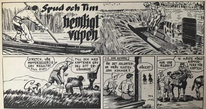 Inledningen till episoden Hemligt vapen ur Spud & Co nr 3, 1963