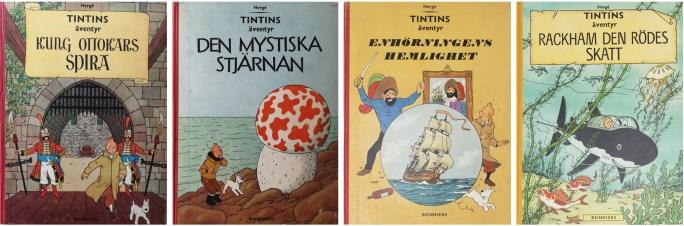 Två Tintin-album kom ut 1960, och vardera ett 1961 och 1962 utgivna av ©Bonniers förlag