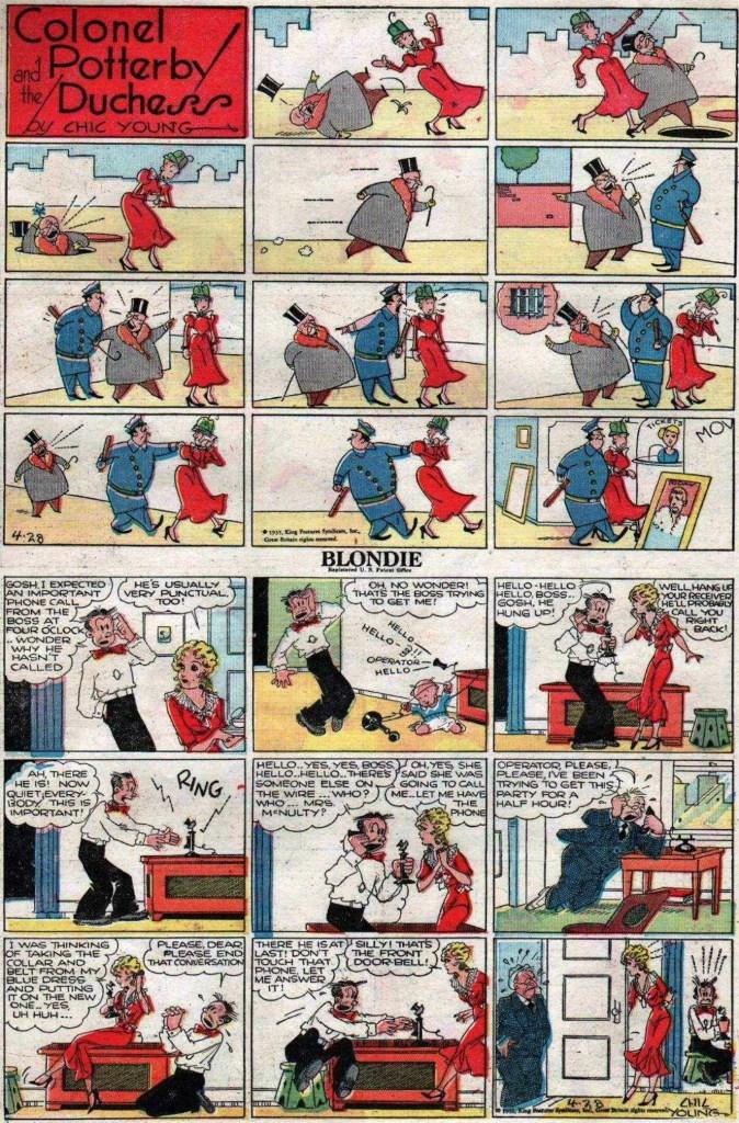 """En söndagssida av Chic Young från 28 april 1935, med Blondie och Colonel Potterby and the Duchess som """"topper stripp"""""""