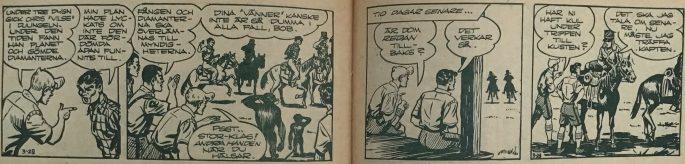 Uppslaget i Bob och Frank nr 3, 1954, med slutet på episoden De försvunna diamanterna, och början på Hemligt vapen