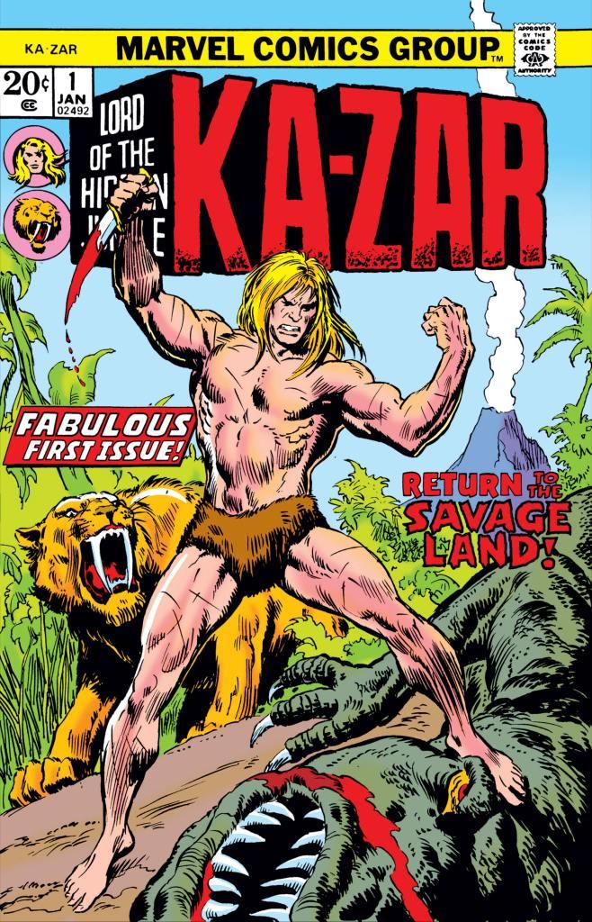 Ka-Zar #1 från 1974. Omslag av John Bushema.