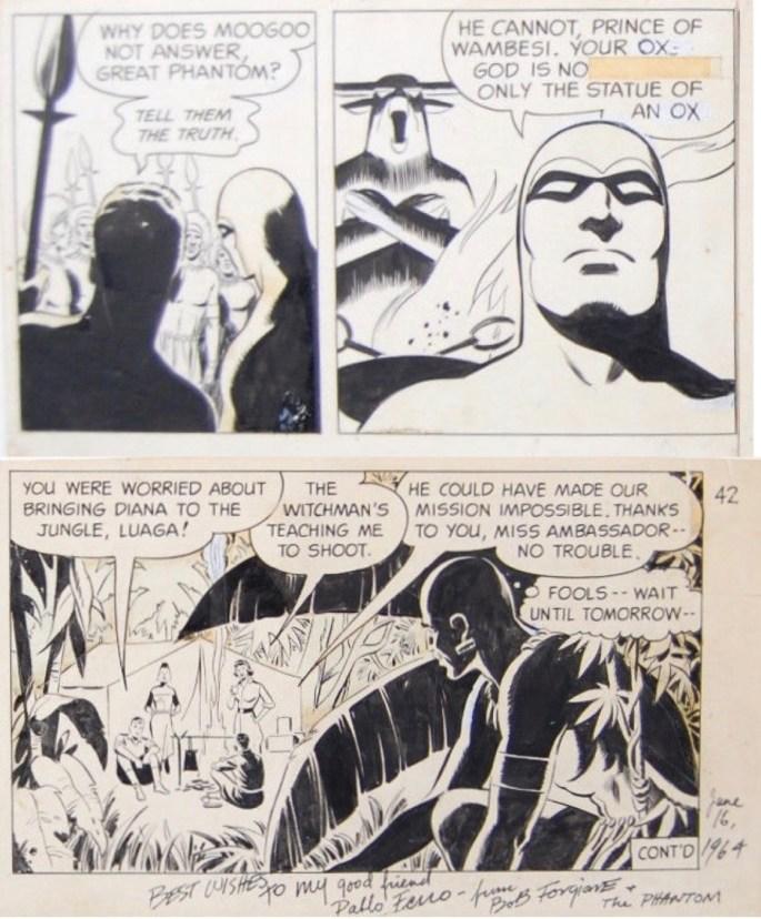 Delar av original till dagsstrippar av Bob Forgione ur episoden The Epidemic, där Sy Barry tuschade Fantomen. ©KFS