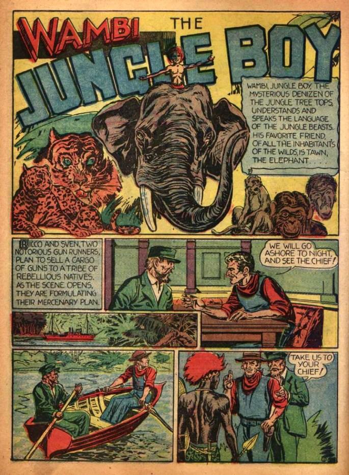 Första sidan med Wambi, ur Jungle Comics #1. ©GKP