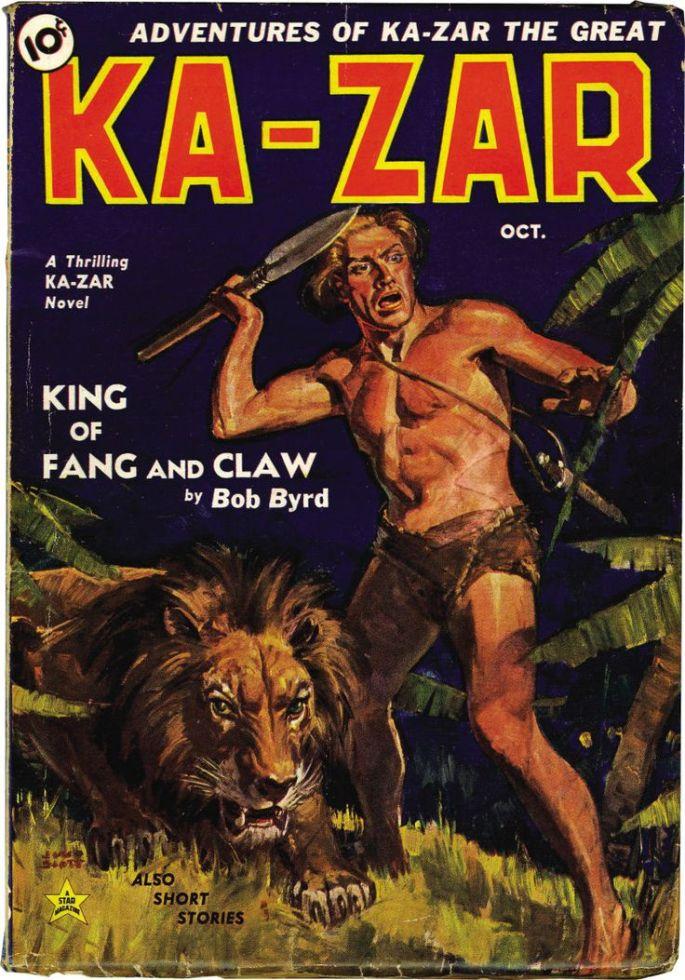 """Berättelsen om Ka-Zar gick som följetong i tre nummer av ett """"Pulp magazine"""" med egen titel."""