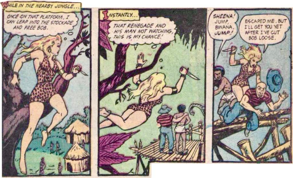 En actionladdad scen ur Sheena, the Queen of the Jungle #18 (1952). ©Real Adventures Pub.