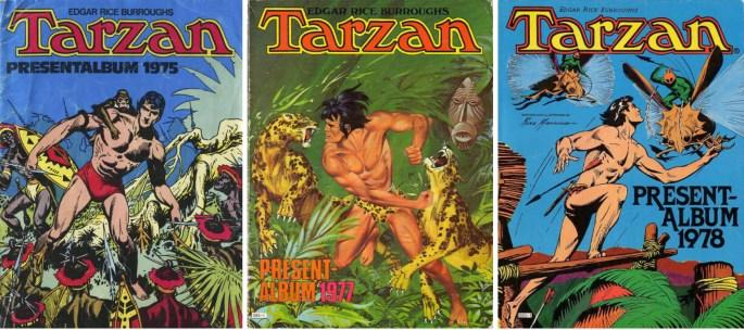 Omslag till Tarzan presentalbum 1975, 1977 och 1978. ©Williams/Semic/Atlantic