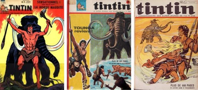 Tounga började i serietidningen Tintin.