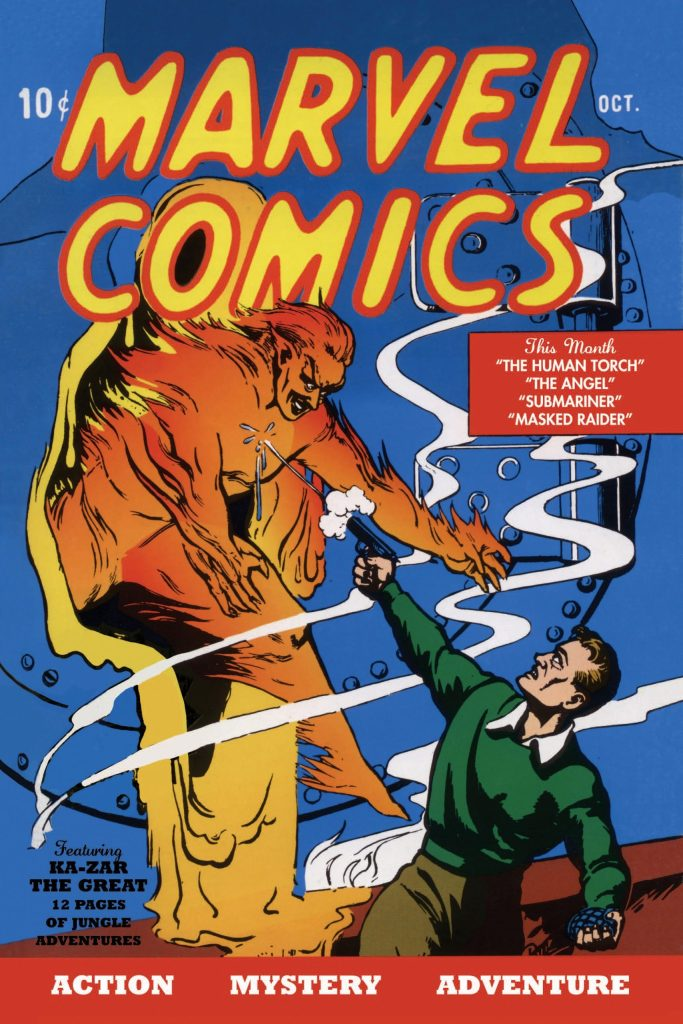 Marvel Comics #1 , publicerad av Timely Publications, introducerade serien Ka-Zar the Great. ©Timely