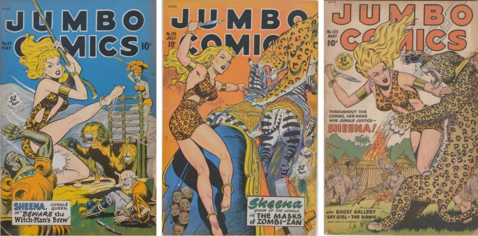 Jumbo Comics #111, #113 och #123. ©Fiction House