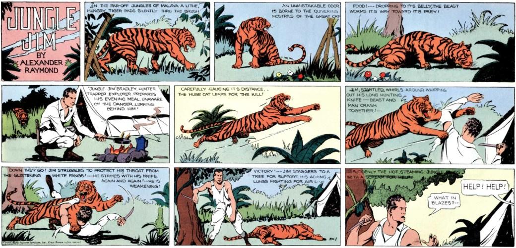 Den första söndagssidan från den 7 januari 1934, först ut i Jungle Jim episod-guide