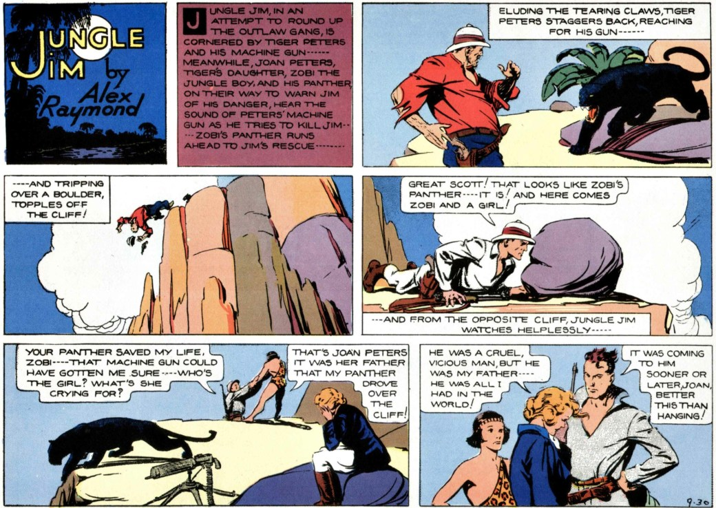 Det dramatiska slutet 30 september 1934, på episoden om hotet mot Wilsons guldgruva, tredje episoden i Jungle Jim episod-guide