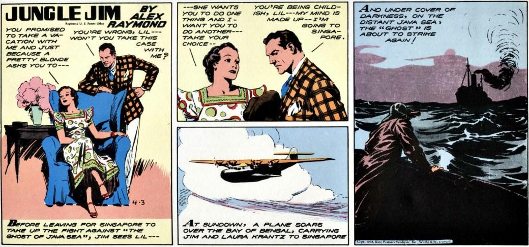 Från och med söndagssidan sen 3 april 1938 överger Raymond även pratbubblor och fullbordar integreringen av all text.