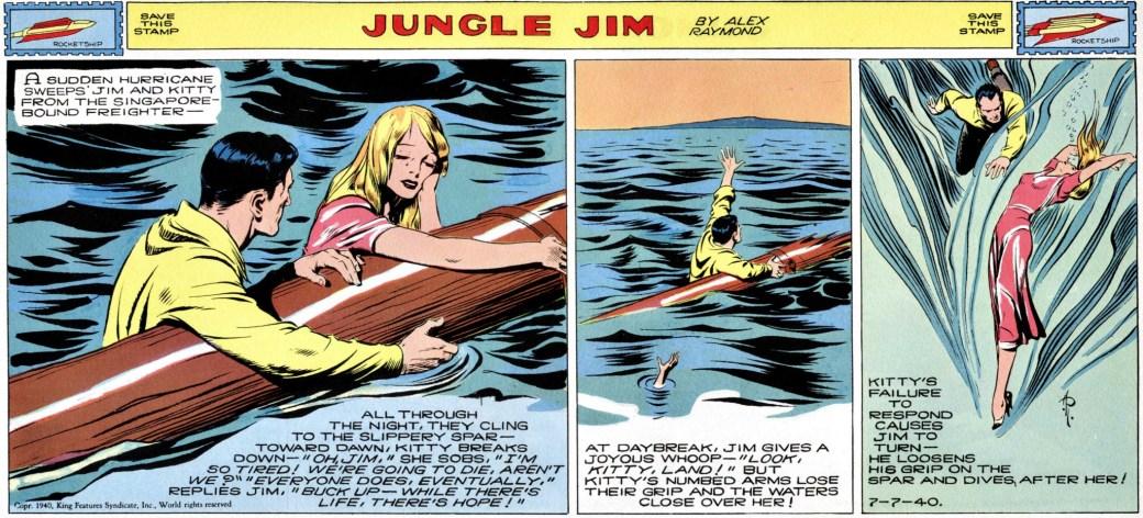 På väg till Singapore sköljs Jim och Kitty överbord i en storm (strippen från 7 juli 1940)
