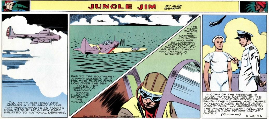 Jungle Jim blir alltmer involverad i skeenden relaterade till kriget (strippen från 25 maj 1941)