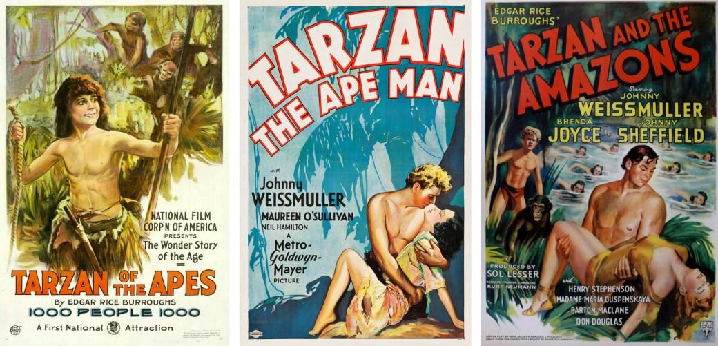 Posters från Tarzan-filmer från 1918 med Elmo Lincoln, och 1932 och 1945 med Johnny Weissmuller.