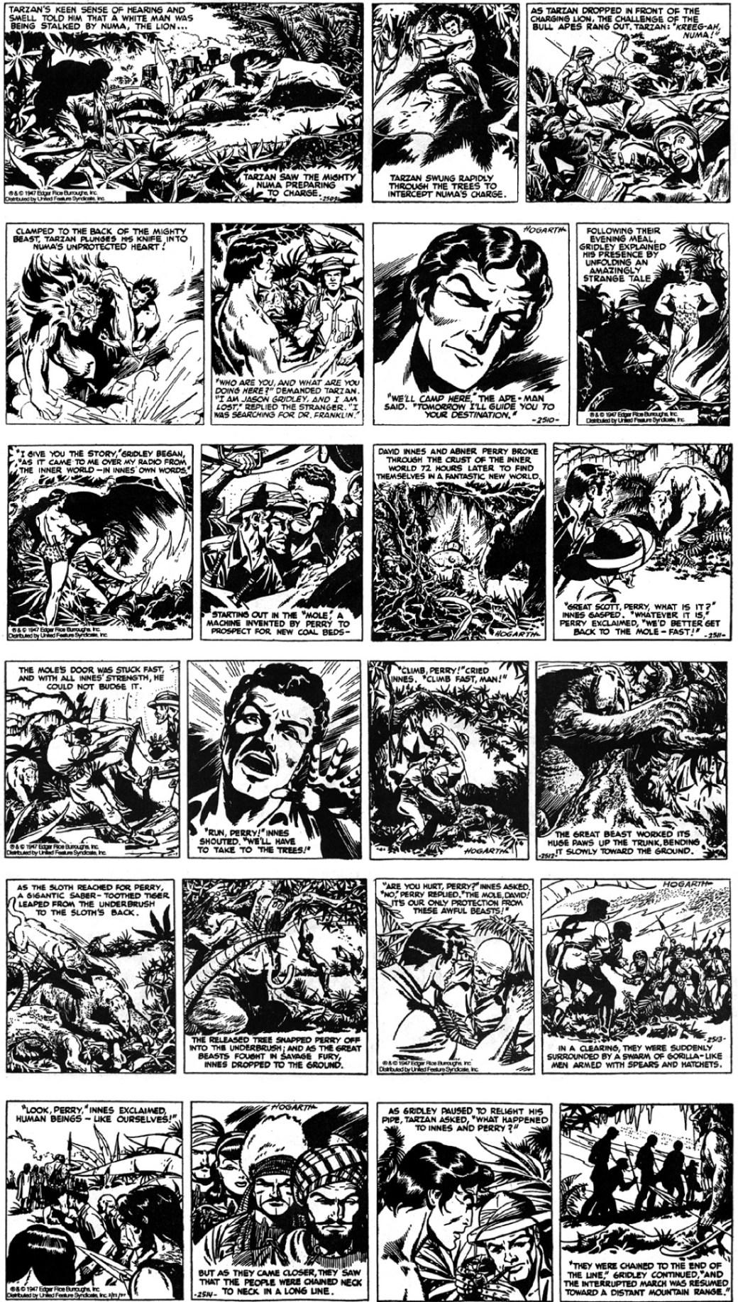 Första veckan med Dan Barry som tuschare och Burne Hogarth som tecknare, från 1-6 september 1947.