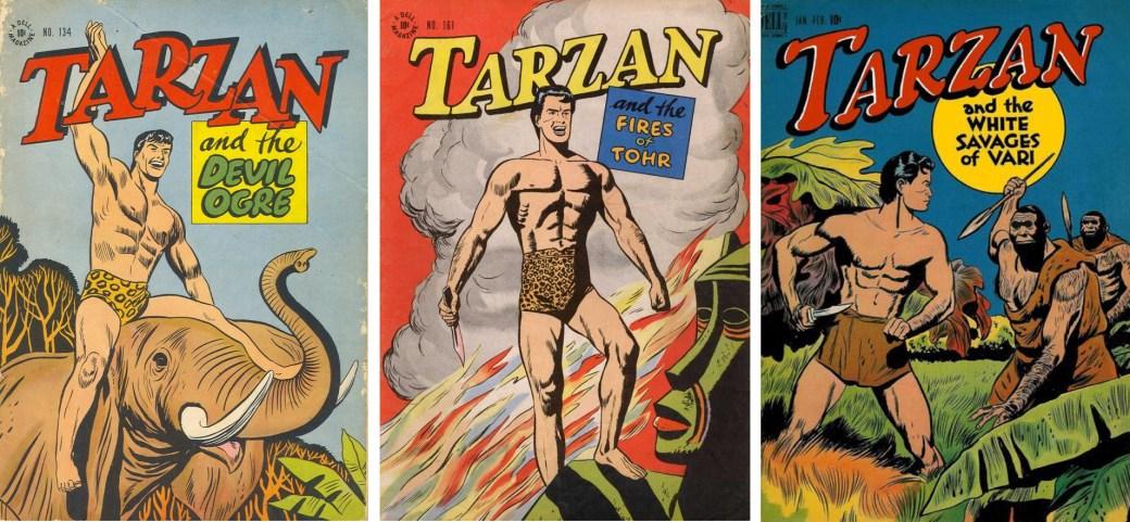 Dell Comics Four Colors #134 och #161, och Tarzan #1.