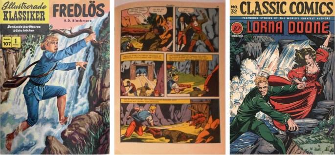 Fredlös, den svenska editionen av Classic Comics #32, Lorna Doone (t.h.). ©IK/Gilberton