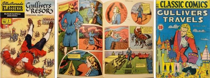 Gullivers resor i IK nr 98, och omslag till Classic Comics #16 (t.h.). ©IK/Gilberton