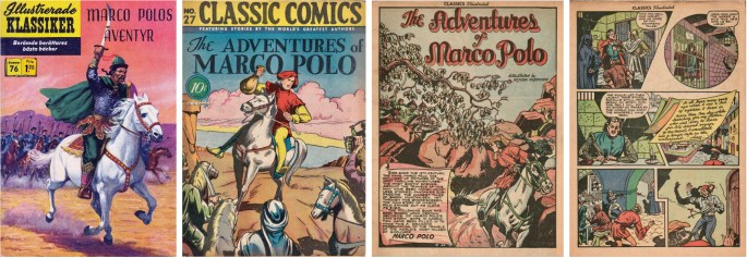 Omslag till Illustrerade klassiker nr 76, och omslag och inledande sidor till Classic Comics #27 från 1946. ©IK/Gilberton