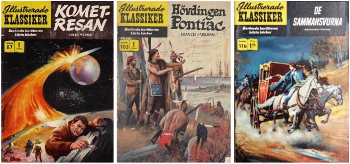 Omslag till tre nummer av IK med serier av Gerry McCann, som även skapade omslag till de två senare.