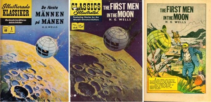 Omslag till Illustrerade klassiker nr 68 och Classic Illustrated #144, och den inledande sidan. ©IK/Gilberton