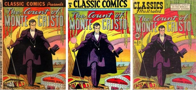 Några tidiga editioner av The Count of Monte Christo, från 1942, 1946 och 1947, med serien tecknad av Ramsey/Lipman/Simon.