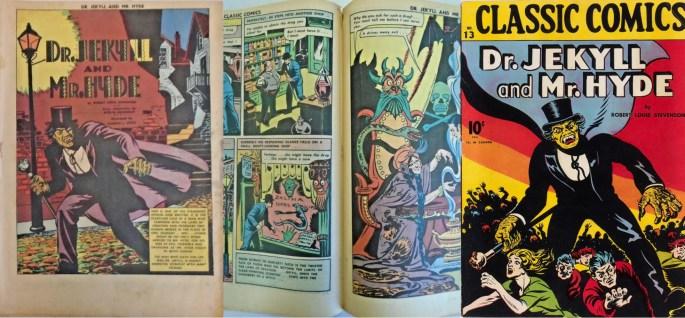 Första sida, mittuppslag och omslag av Hicks som tecknade Dr. Jekyll and Mr. Hyde till Classic Comics #13. ©Gilberton
