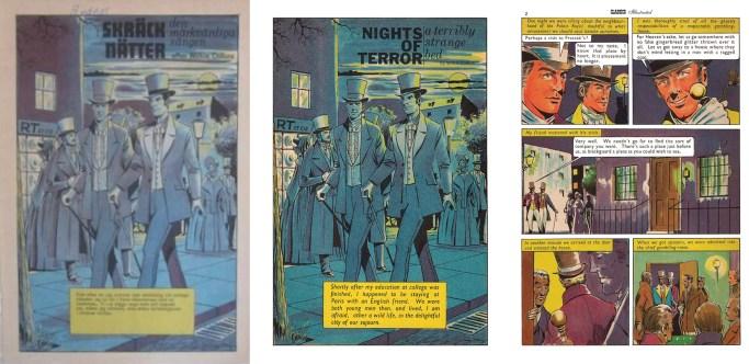 Den inledande sidan till Skräcknätter, och motsvarande sida i den brittiska förlagan. ©IK/T&P